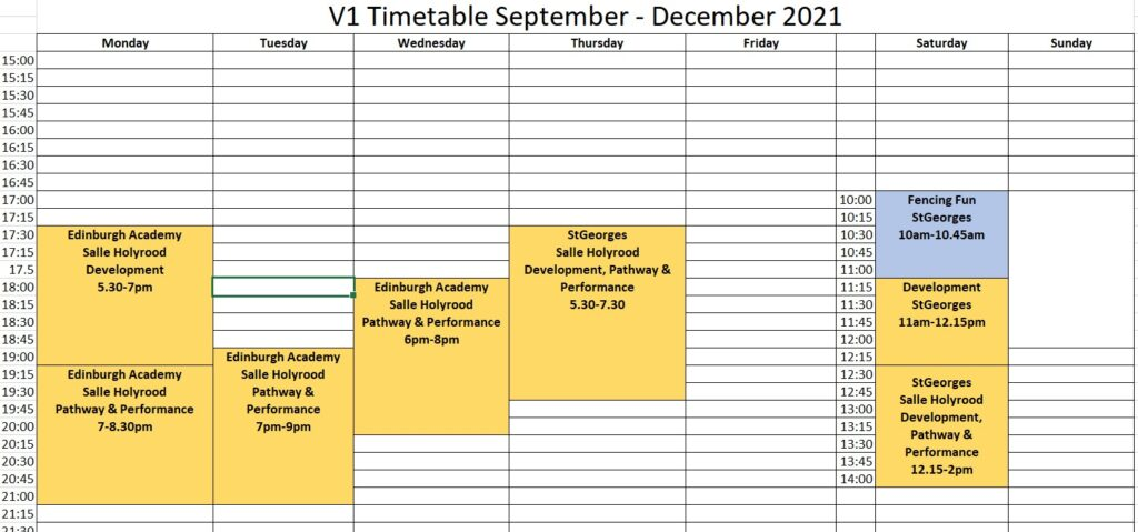 spreadsheet of sessions Sept to Dec 2021